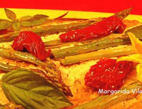 Pizza integral con crema de tofu y verduras