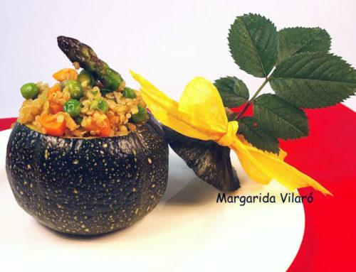 Calabacines redondos rellenos de quinoa
