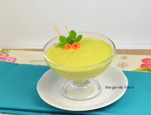 Crema de calabacín, zanahoria y anacardos